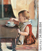 Hodler Ferdinand - Kind Am Tisch - Swiss School - 19th Century. Редакционное фото, фотограф Artepics / age Fotostock / Фотобанк Лори