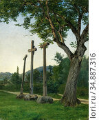 Zund Robert - Drei Kreuze Am Wiesenweg - Swiss School - 19th Century. Редакционное фото, фотограф Artepics / age Fotostock / Фотобанк Лори