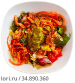 Tasty salad with salmon, guacamole and fresh vegetables. Стоковое фото, фотограф Яков Филимонов / Фотобанк Лори