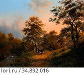 Koekkoek I Marinus Adrianus - Bosweg Met Reizend Gezelschap - Dutch... Редакционное фото, фотограф Artepics / age Fotostock / Фотобанк Лори