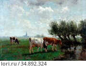 Kregten Fedor Van - Weiland Met Koeien - Dutch School - 19th Century. Редакционное фото, фотограф Artepics / age Fotostock / Фотобанк Лори