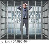 Man trapped in prison with dollars. Стоковое фото, фотограф Elnur / Фотобанк Лори