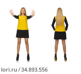 Blond hair girl in yellow and black clothing isolated on white. Стоковое фото, фотограф Elnur / Фотобанк Лори