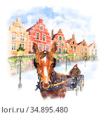Horse carriage on Christmas Markt square in Brugge, Belgium. Стоковая иллюстрация, иллюстратор Коваленкова Ольга / Фотобанк Лори