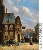 Bles Joseph - a Lively Townscene - Dutch School - 19th Century. Редакционное фото, фотограф Artepics / age Fotostock / Фотобанк Лори