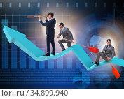 Businessman on line chart in business concept. Стоковое фото, фотограф Elnur / Фотобанк Лори