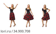 Beautiful young woman in plaid dress isolated on white. Стоковое фото, фотограф Elnur / Фотобанк Лори
