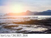Cape on the sea at sunset. Стоковое фото, фотограф Юрий Бизгаймер / Фотобанк Лори