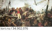 Death of Churruca in Trafalgar 1805. Painted by Eugenio Alvarez Dumont... Редакционное фото, фотограф Juan García Aunión / age Fotostock / Фотобанк Лори