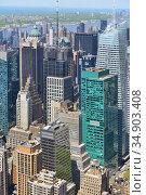Urban landscape. Famous skyscrapers in city center. Midtown Manhattan. New York City. United States (2019 год). Стоковое фото, фотограф Валерия Попова / Фотобанк Лори
