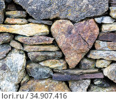 RF - Heart-shaped stone in a wall, Rodel, Harris, Scotland (This image may be licensed either as rights managed or royalty free.) Стоковое фото, фотограф Niall Benvie / Nature Picture Library / Фотобанк Лори