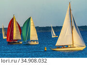 Wednesday Evening Races Rounding the Yellow Buoy Colorful Sailboats... Стоковое фото, фотограф William Perry / easy Fotostock / Фотобанк Лори
