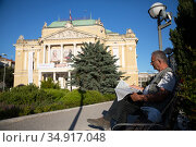 Croatia, Rijeka - Croatian National Theater Rijeka Ivan Zajc, would have been a venue for the European Capital of Culture 2020 without Corona. Редакционное фото, агентство Caro Photoagency / Фотобанк Лори