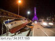 Croatia, Rijeka - fishing boat on the pier, backlit loading crane. Редакционное фото, агентство Caro Photoagency / Фотобанк Лори