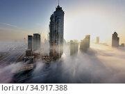 Dubai, United Arab Emirates, view of the skyline in the morning with fog (2019 год). Редакционное фото, агентство Caro Photoagency / Фотобанк Лори