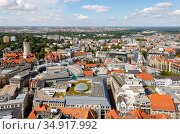 City panorama, old town, city hall, Leipzig, Saxony, Germany. Редакционное фото, агентство Caro Photoagency / Фотобанк Лори