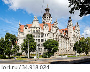 City Hall, Leipzig, Saxony, Germany. Редакционное фото, агентство Caro Photoagency / Фотобанк Лори