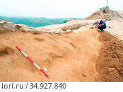 Shimao is a Neolithic site in Shenmu County, Shaanxi, China. The ... (2017 год). Редакционное фото, фотограф Pictures From History / age Fotostock / Фотобанк Лори