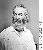 Walter 'Walt' Whitman (May 31, 1819 – March 26, 1892) was an American... (2016 год). Редакционное фото, фотограф Pictures From History / age Fotostock / Фотобанк Лори