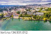 Swiss city of Lausanne on Lake Leman in summer. Стоковое фото, фотограф Яков Филимонов / Фотобанк Лори
