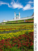 Panoramic view of the Kazan Kremlin and the Kul Sharif Mosque (2018 год). Стоковое фото, фотограф Юлия Белоусова / Фотобанк Лори