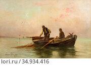 Feron William - Fishermen in a Rowing Boat - Swedish School - 19th... Редакционное фото, фотограф Artepics / age Fotostock / Фотобанк Лори