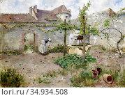 Feron William - in the Kitchen Garden - Swedish School - 19th Century. Редакционное фото, фотограф Artepics / age Fotostock / Фотобанк Лори
