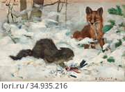 Liljefors Bruno - Caught in the Act - Swedish School - 19th Century. Редакционное фото, фотограф Artepics / age Fotostock / Фотобанк Лори