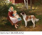 Nilson Johan Severin - Barn Och Hund - Swedish School - 19th Century. Редакционное фото, фотограф Artepics / age Fotostock / Фотобанк Лори