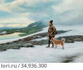 Tirén Johan - Same Med Hund 1 - Swedish School - 19th Century. Редакционное фото, фотограф Artepics / age Fotostock / Фотобанк Лори