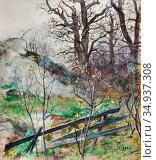Beck Julia - Forest Glade with Fence - Swedish School - 19th Century. Редакционное фото, фотограф Artepics / age Fotostock / Фотобанк Лори