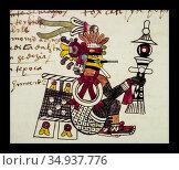 Month Toxcatl in Aztec calendar. Codex Tudela, 16th-century pictorial... Стоковое фото, фотограф Juan García Aunión / age Fotostock / Фотобанк Лори