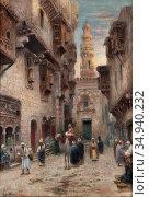 Odelmark Frans Wilhelm - Gata I Kairo 2 - Swedish School - 19th Century... Редакционное фото, фотограф Artepics / age Fotostock / Фотобанк Лори