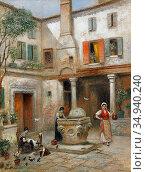 Odelmark Frans Wilhelm - Gard I Venedig - Swedish School - 19th Century... Редакционное фото, фотограф Artepics / age Fotostock / Фотобанк Лори
