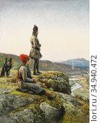 Tirén Johan - Samepar Med Hund - Swedish School - 19th Century. Редакционное фото, фотограф Artepics / age Fotostock / Фотобанк Лори