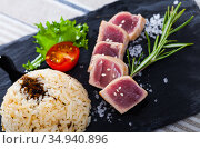 Tuna Tataki garnished with rice. Стоковое фото, фотограф Яков Филимонов / Фотобанк Лори