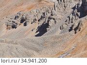 View of a rocky high-mountainous desert with weathered rocks, talus and glaciers. Стоковое фото, фотограф Евгений Харитонов / Фотобанк Лори
