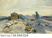 Benois Aleksandr Nikolaevic - the Artist Sketching Sainte-Baume - ... Стоковое фото, фотограф Artepics / age Fotostock / Фотобанк Лори