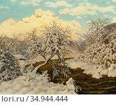 Choultse Ivan - Lever Du Soleil - Russian School - 19th Century. Стоковое фото, фотограф Artepics / age Fotostock / Фотобанк Лори