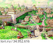 Vasnetsov Apollinari - Bast Trading in the 17th Century - Russian... Стоковое фото, фотограф Artepics / age Fotostock / Фотобанк Лори