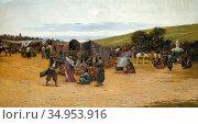 Zommer Richard Karlovich - the Encampment 2 - Russian School - 19th... Стоковое фото, фотограф Artepics / age Fotostock / Фотобанк Лори