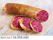 Spanish dry cured pork sausage Salchichon. Стоковое фото, фотограф Яков Филимонов / Фотобанк Лори