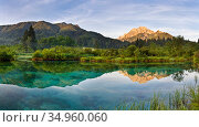 Mangrt mountain reflected in lake. Lago di Fusine, Friuli Venezia Giulia, Italy. July 2007. Стоковое фото, фотограф Guy Edwardes / Nature Picture Library / Фотобанк Лори