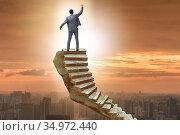 Concept of career ladder with businessman. Стоковое фото, фотограф Elnur / Фотобанк Лори