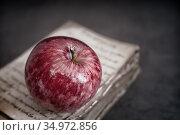 A ripe Apple on the background of a book. Стоковое фото, фотограф Galina Tolochko / Фотобанк Лори