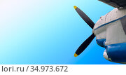 Propeller of military transport aircraft AN-26. Стоковое фото, фотограф Анна Майорова / Фотобанк Лори