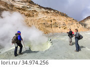 Group tourists watching eruption of hot springs, fumes fumarole, volcanic gas-steam activity in crater active volcano, beautiful mountain landscape (2014 год). Редакционное фото, фотограф А. А. Пирагис / Фотобанк Лори
