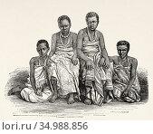 Ugandan women, Africa. Old XIX century engraved from Le Tour du Monde... (2020 год). Редакционное фото, фотограф Jerónimo Alba / age Fotostock / Фотобанк Лори
