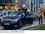 Warsaw, Poland - October 26, 2020: Demonstrators blocked the streets... Редакционное фото, фотограф Konrad Zelazowski / age Fotostock / Фотобанк Лори