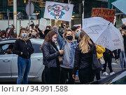 Warsaw, Poland - October 26, 2020: Women blocked the streets of the... Редакционное фото, фотограф Konrad Zelazowski / age Fotostock / Фотобанк Лори